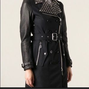 BURBERRY BRIT LEATHER SLEEVE STUDDED TRENCH